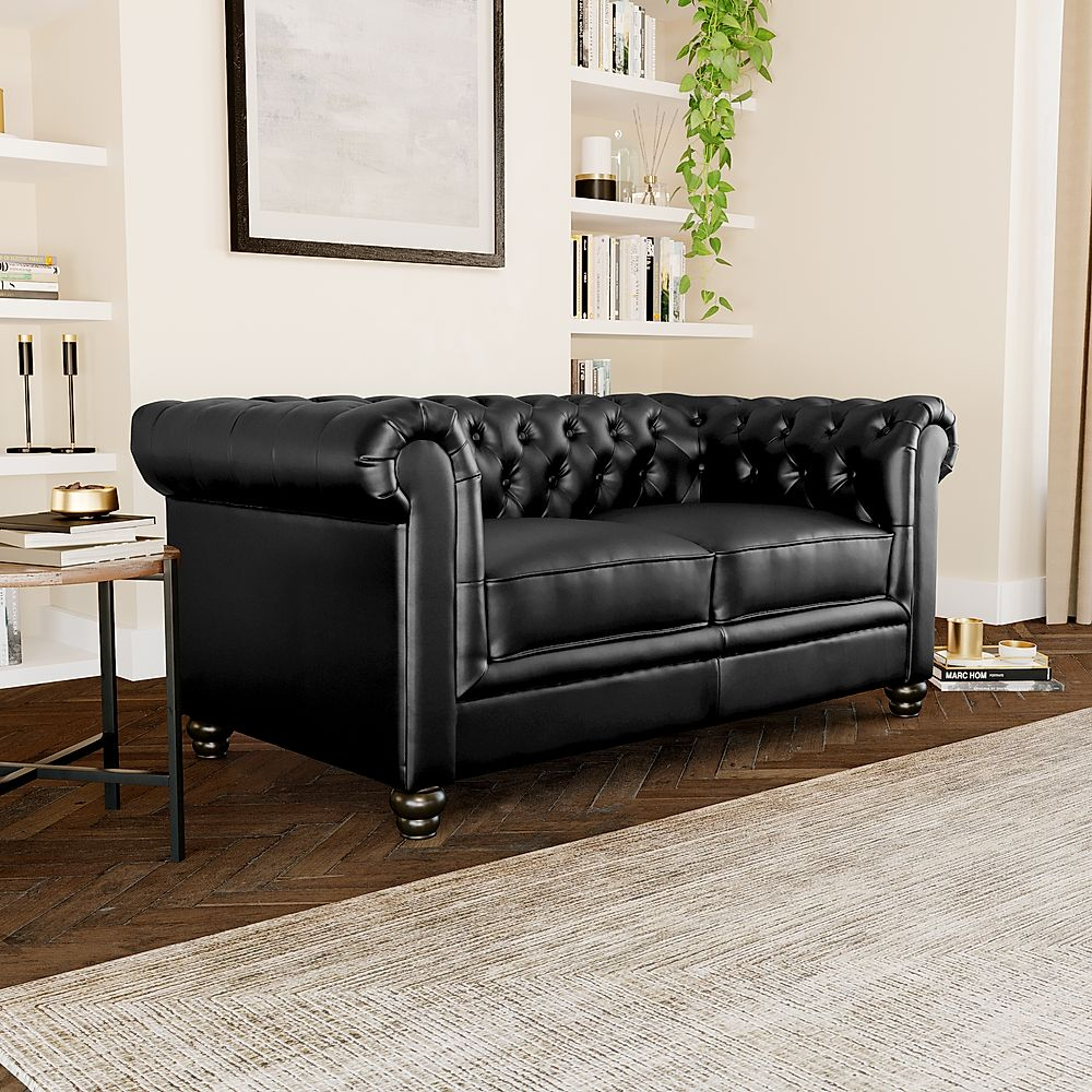 Hampton Black Leather 2 Seater Chesterfield Sofa Intended For Hamptons Sofas (View 5 of 15)