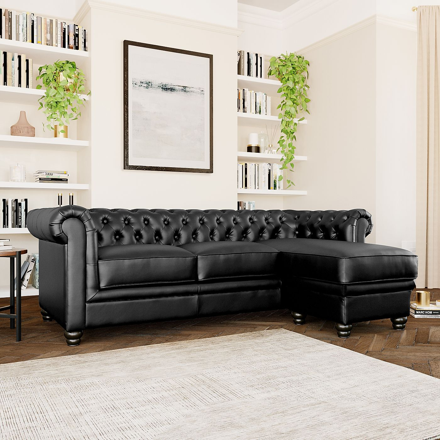 Hampton Black Leather L Shape Chesterfield Corner Sofa Throughout Leather Corner Sofas (View 4 of 15)