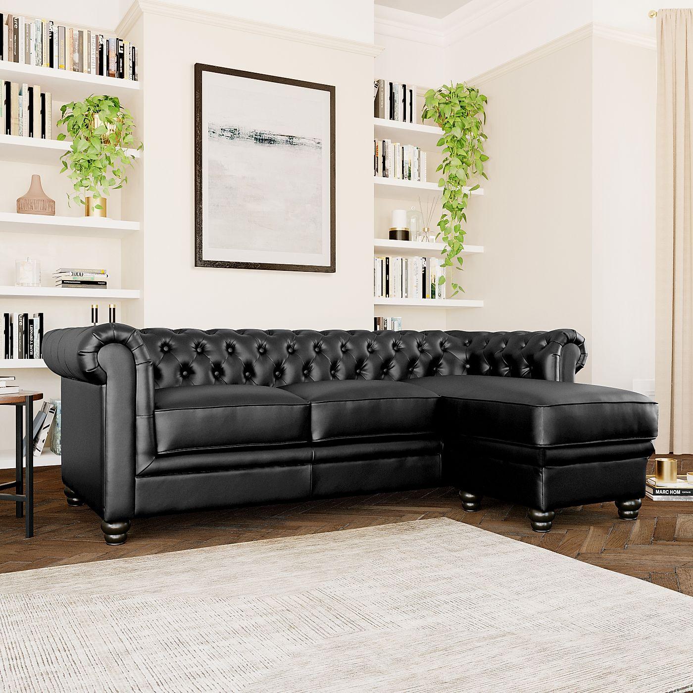 Hampton Black Leather L Shape Chesterfield Corner Sofa With Regard To Leather Corner Sofas (View 4 of 15)