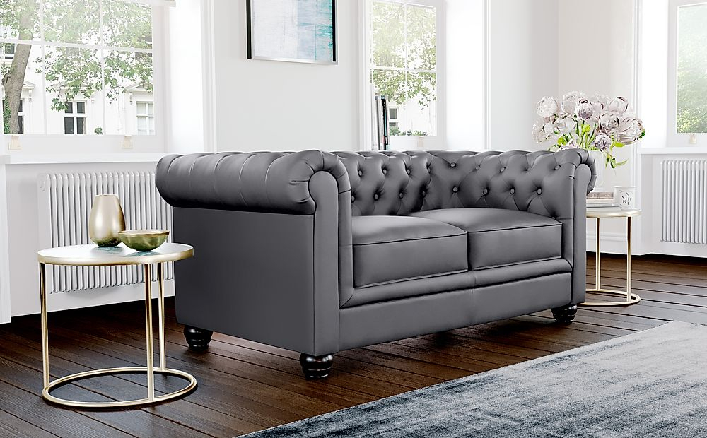 Hampton Grey Leather 2 Seater Chesterfield Sofa Intended For Chesterfield Sofas (View 9 of 15)