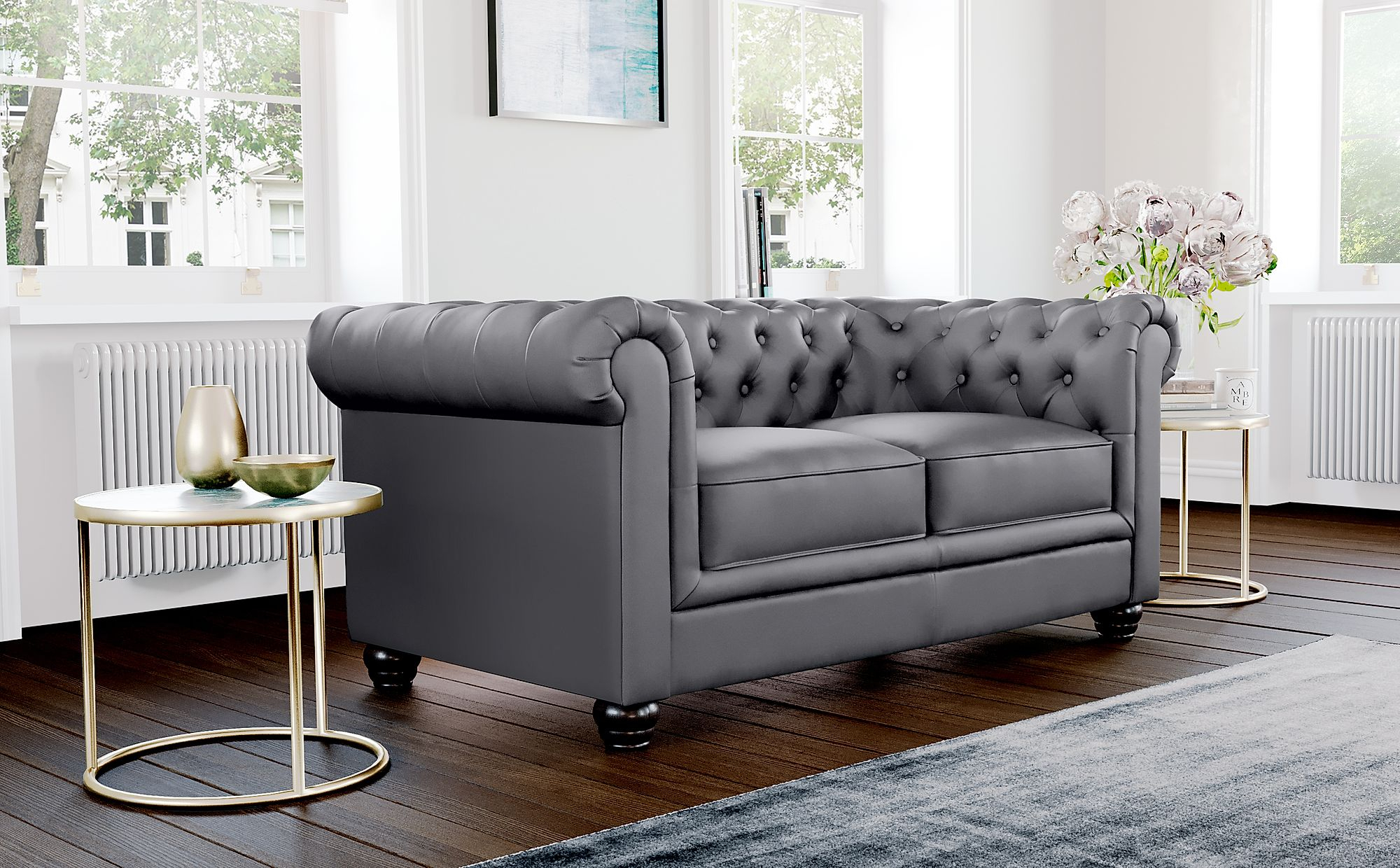 Hampton Grey Leather 2 Seater Chesterfield Sofa With Chesterfield Sofas And Chairs (View 1 of 15)