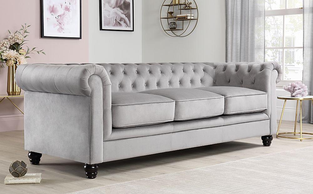 Hampton Grey Velvet 3 Seater Chesterfield Sofa | Furniture Within Hamptons Sofas (View 9 of 15)