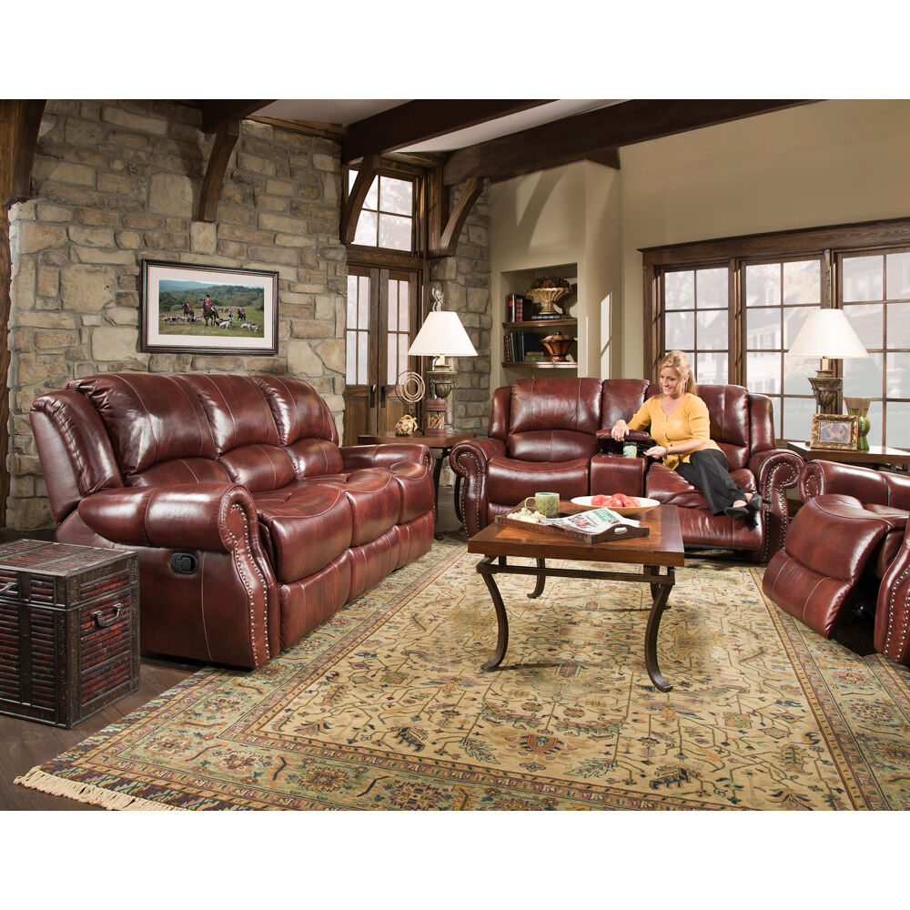 Hanover Aspen 100% Genuine Leather Double Reclining Sofa, Ox Intended For Aspen Leather Sofas (View 11 of 15)