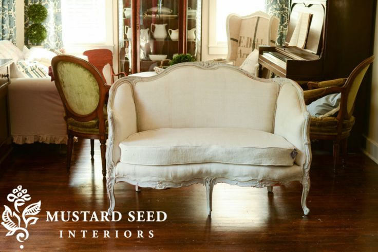 Happy Ending & French Settee Makeover | Miss Mustard Seed Inside French Seamed Sectional Sofas Oblong Mustard (View 1 of 15)