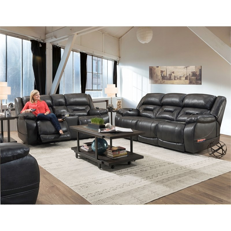 Harden Triple Power Sofa Recliner In Gray Leather With Regard To Charleston Triple Power Reclining Sofas (View 15 of 15)