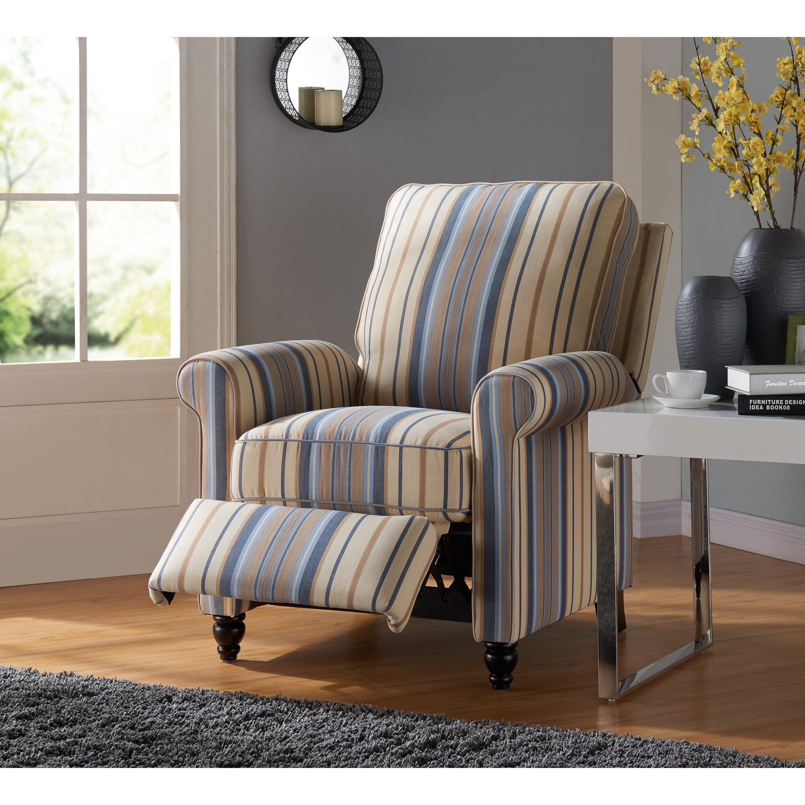 Havenside Home Howard Blue Stripe Push Back Recliner Chair Intended For Striped Sofas And Chairs (View 1 of 15)