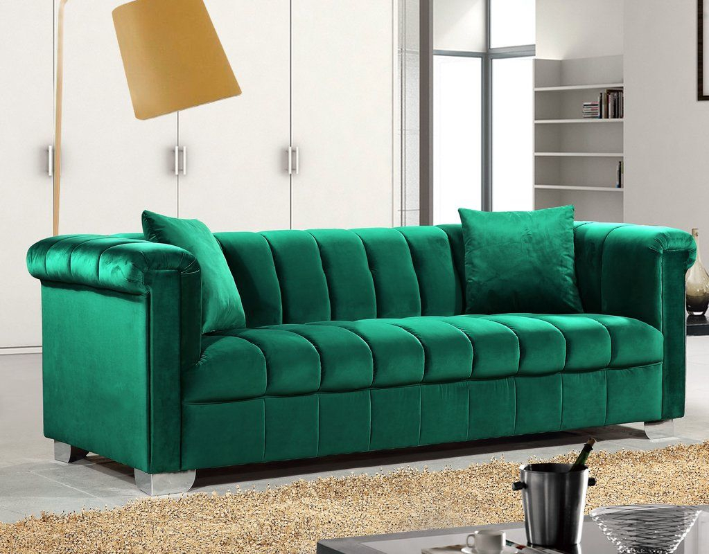 Henriette Chesterfield Sofa | Meridian Furniture With Harmon Roll Arm Sectional Sofas (View 3 of 15)