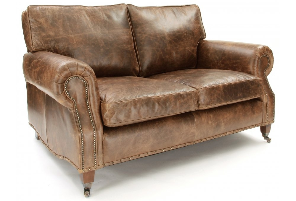 Hepburn | Shabby Chic Vintage Leather Small 2 Seater Sofa Within Two Seater Sofas (View 4 of 15)