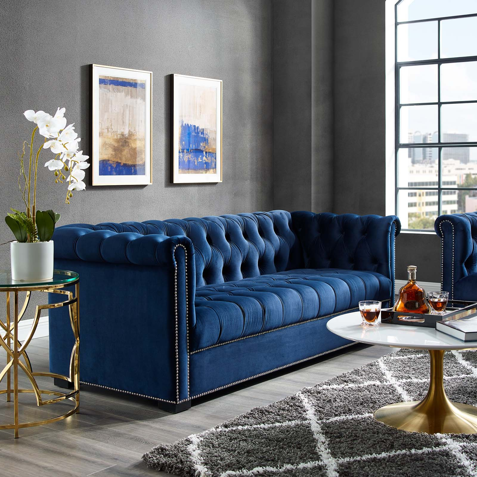 Heritage Upholstered Velvet Sofa Midnight Blue Intended For Blue Sofa Chairs (View 2 of 15)