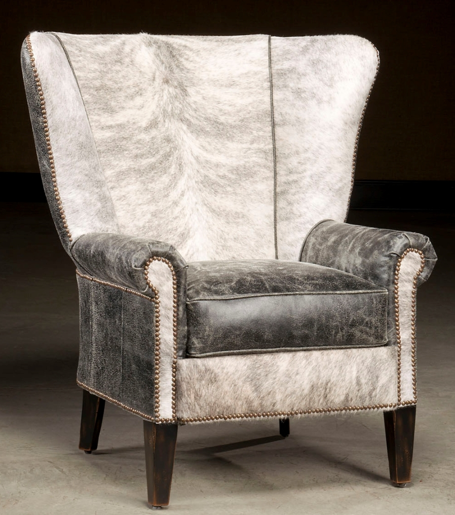 High Back Accent Chair. Hair Hide And Distressed Leather (View 2 of 15)