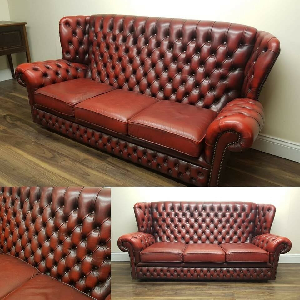 High Back Ox Blood Chesterfield Sofa | In Llanelli With Regard To Sofas With High Backs (View 4 of 15)