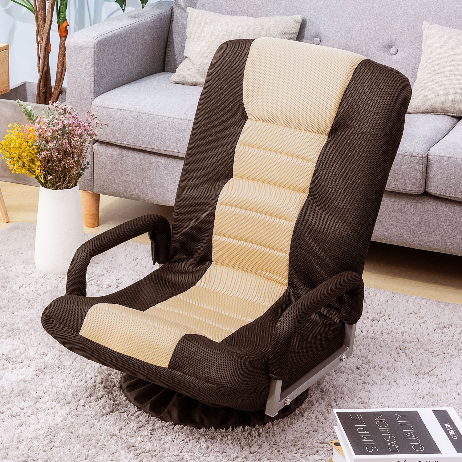 Highback Rocking Video Gaming Floor Chair With Armrest Regarding Folding Sofa Chairs (View 6 of 15)