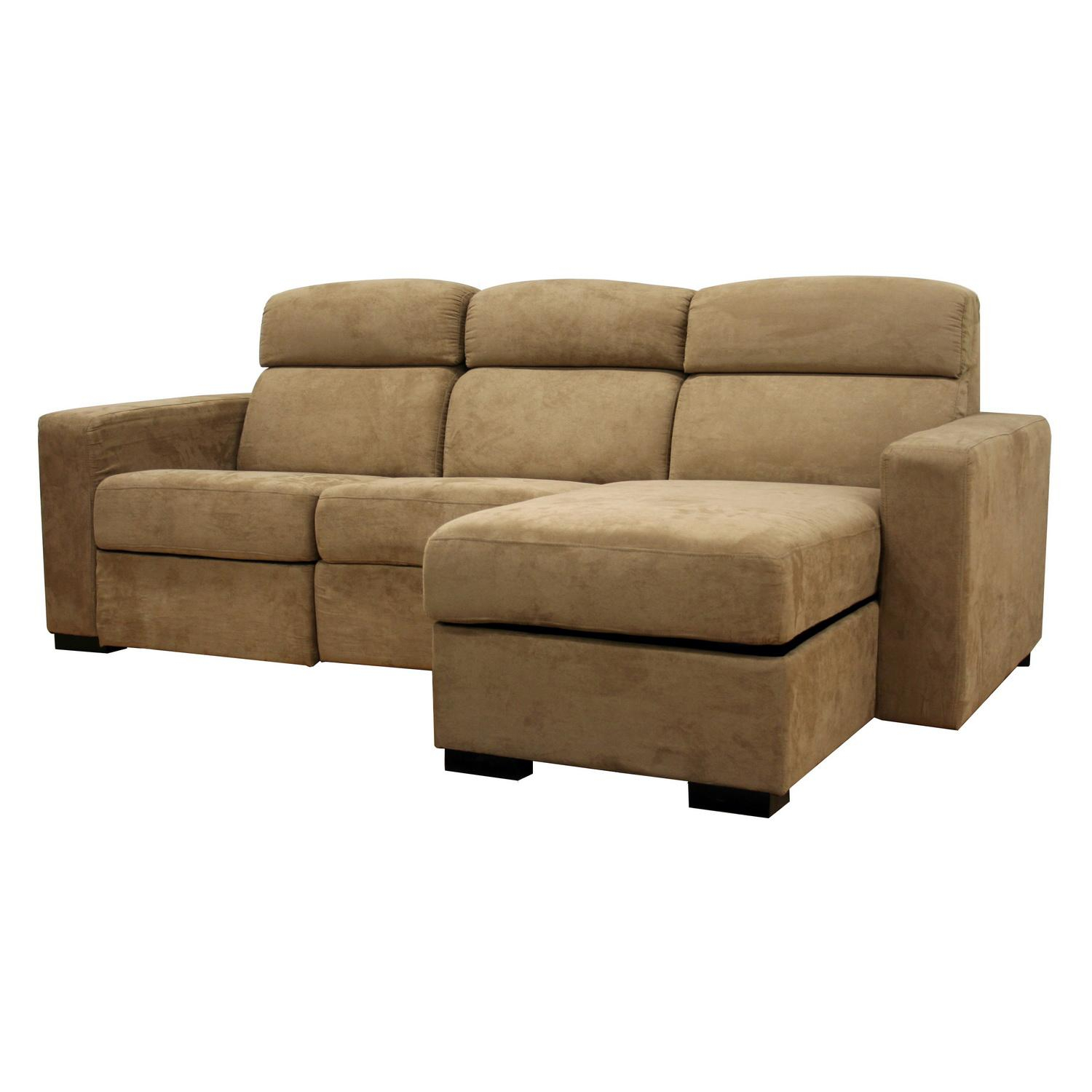 Holcomb Tan Microfiber Storage Chaise And Reclining With Copenhagen Reclining Sectional Sofas With Right Storage Chaise (View 6 of 15)