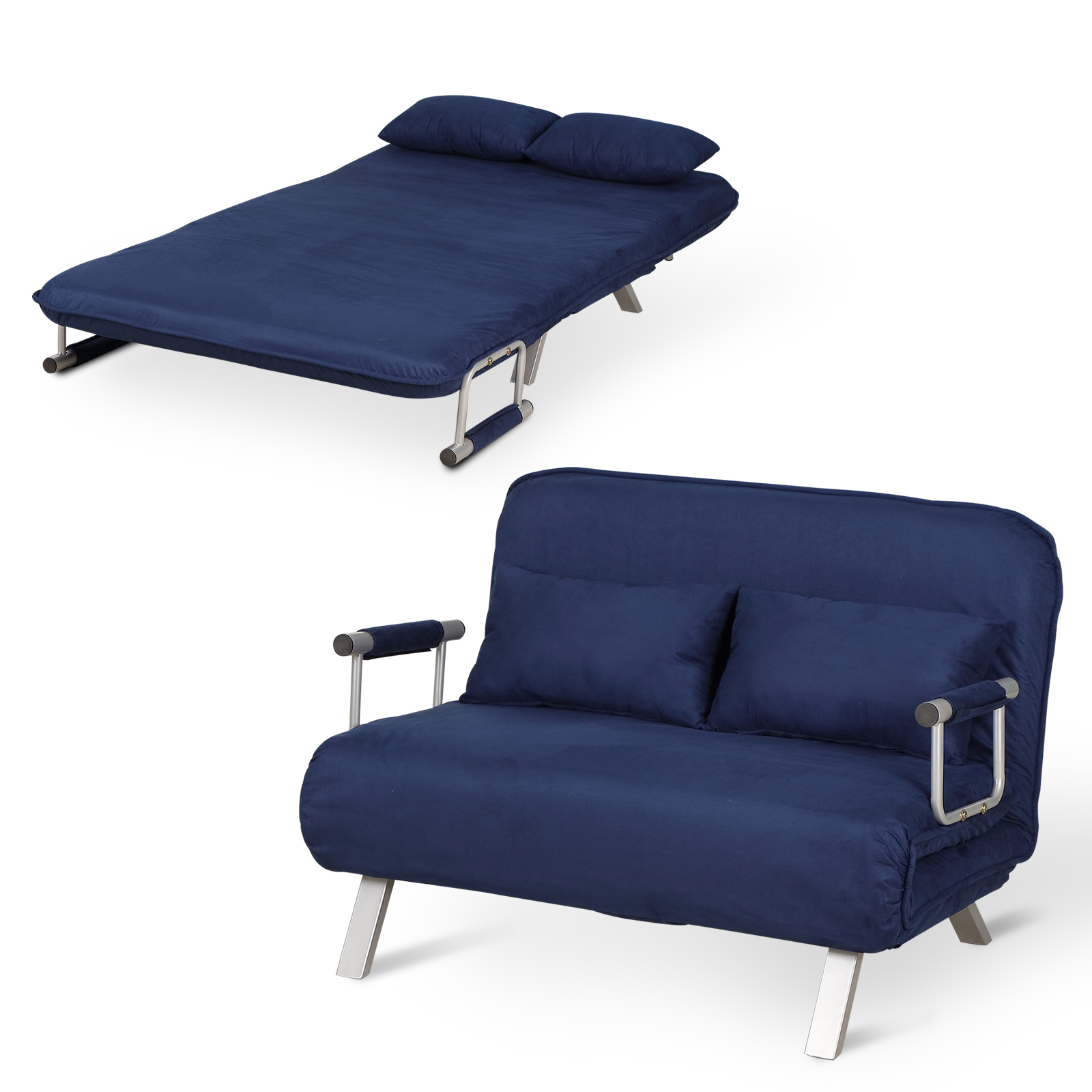 Homcom 2 Seater Sofa Chair Folding 5 Position Convertible Inside Folding Sofa Chairs (View 4 of 15)