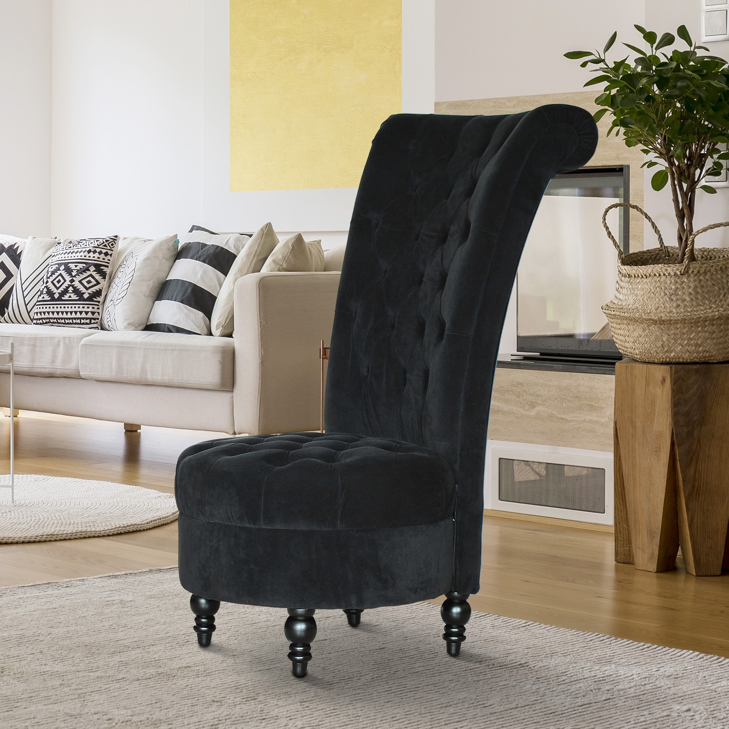 """Homcom 45"""" Tufted High Back Velvet Accent Chair Living With Regard To Sofas With High Backs (View 1 of 15)"""