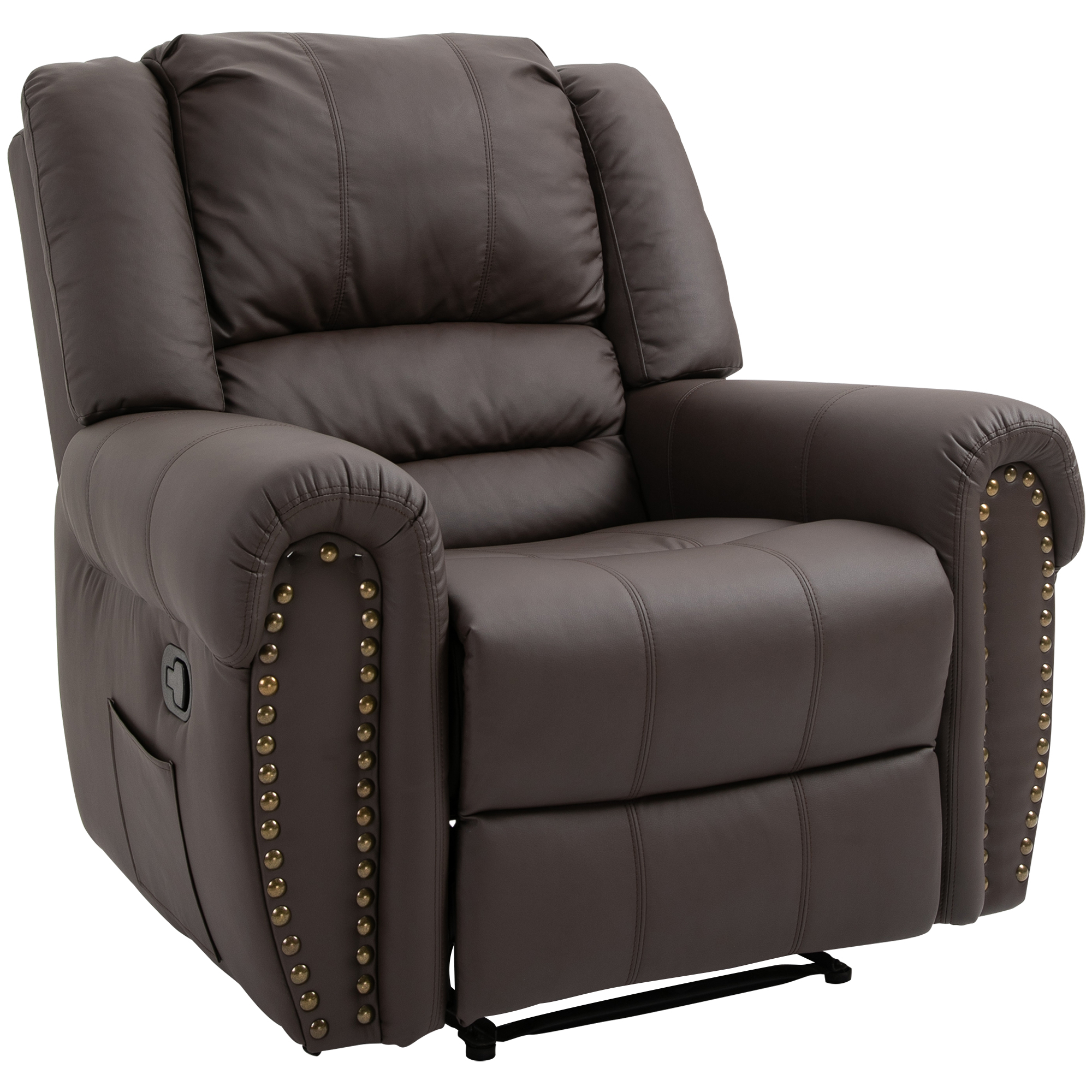 Homcom Manual Recliner Sofa With Footrest Armchair Cushion Within Manual Reclining Sofas (View 10 of 11)