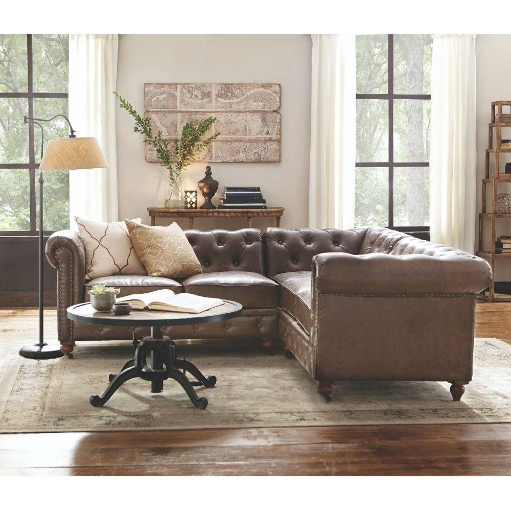 Home Decorators Collection Gordon 3 Piece Brown Bonded Within 3Pc Bonded Leather Upholstered Wooden Sectional Sofas Brown (View 8 of 15)