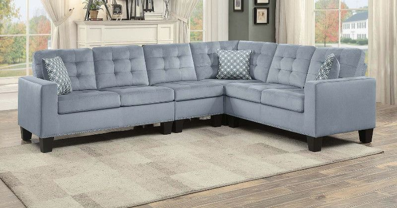 Home Elegance He 9957Gy 2 Pc Lantana Gray Fabric For 2Pc Polyfiber Sectional Sofas With Nailhead Trims Gray (View 3 of 15)