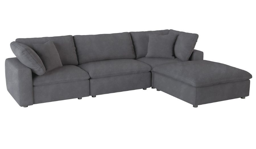 Homelegance 9546Gy 4Pc 4 Pc Guthrie Gray Fabric Down Regarding 4Pc Beckett Contemporary Sectional Sofas And Ottoman Sets (View 13 of 15)