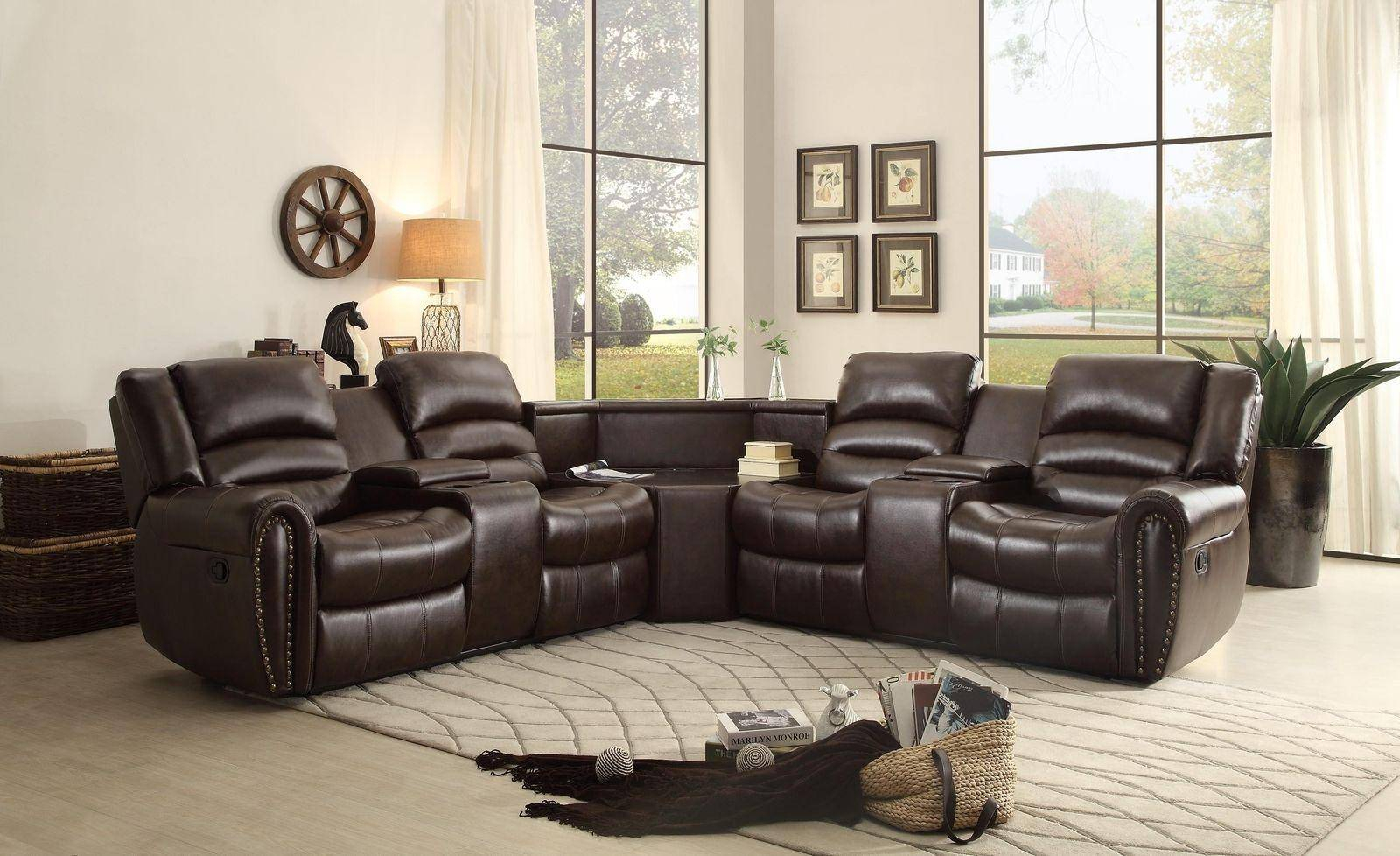 Homelegance Palmyra Brown Bonded Leather Reclining Pertaining To 3Pc Bonded Leather Upholstered Wooden Sectional Sofas Brown (View 6 of 15)