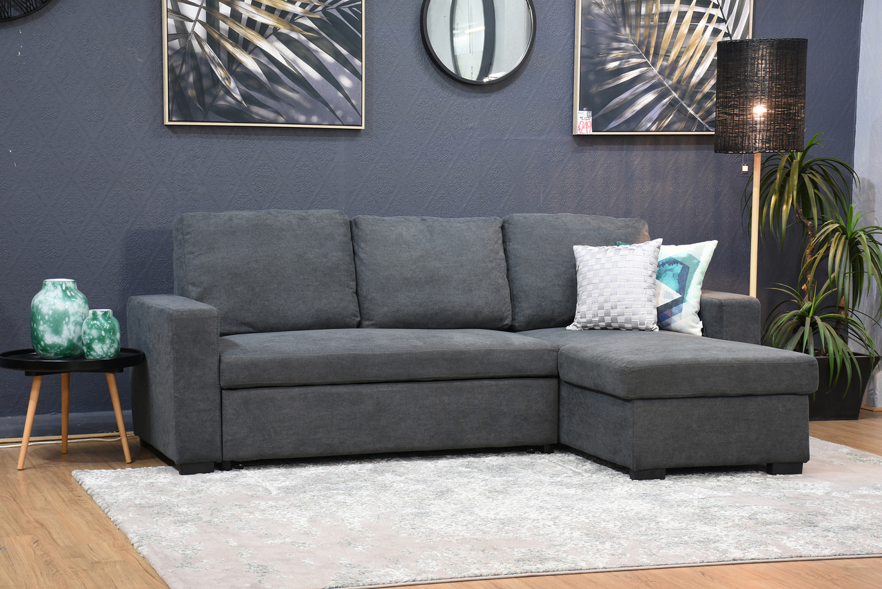 Hugo Storage Chaise Lounge With Pull Out Sofa Bed Dark In Hugo Chenille Upholstered Storage Sectional Futon Sofas (View 10 of 15)
