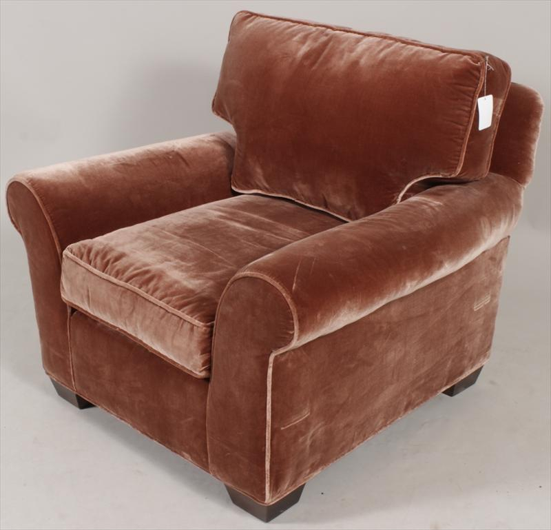 Igavel Auctions: Overstuffed Rust Colored Velvet, Easy Inside Overstuffed Sofas And Chairs (View 1 of 15)