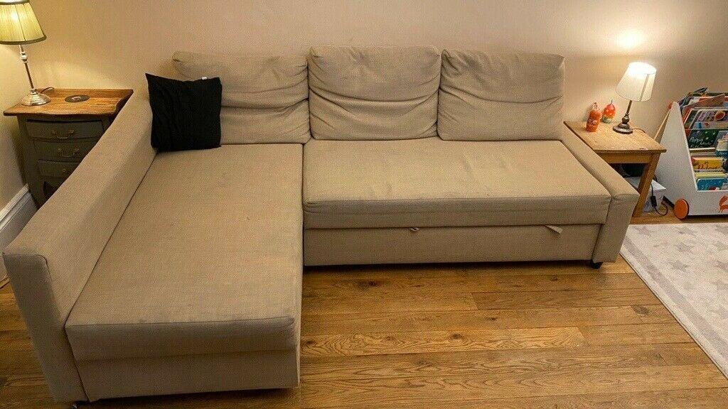 Ikea Friheten Corner Sofa Bed With Storage – Beige   In Pertaining To Ikea Corner Sofas With Storage (View 8 of 15)