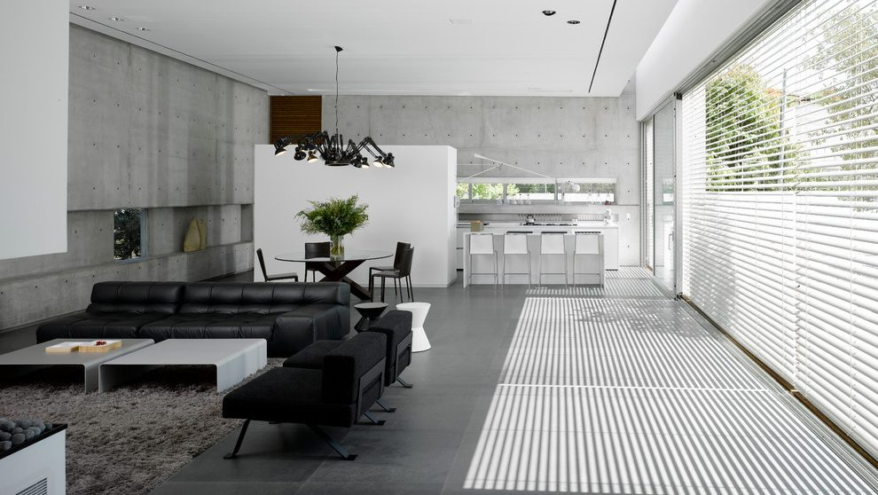 Israel Gray Leather Sectional Sofas Living Room Modern With Regard To Calvin Concrete Gray Sofas (View 14 of 15)