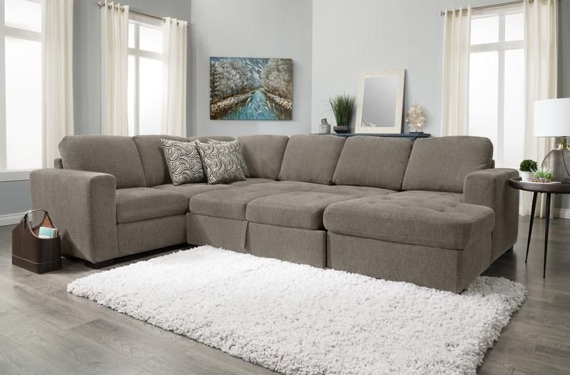 Izzy 3 Piece Chenille Right Facing Sleeper Sectional With Regarding Hugo Chenille Upholstered Storage Sectional Futon Sofas (View 1 of 15)