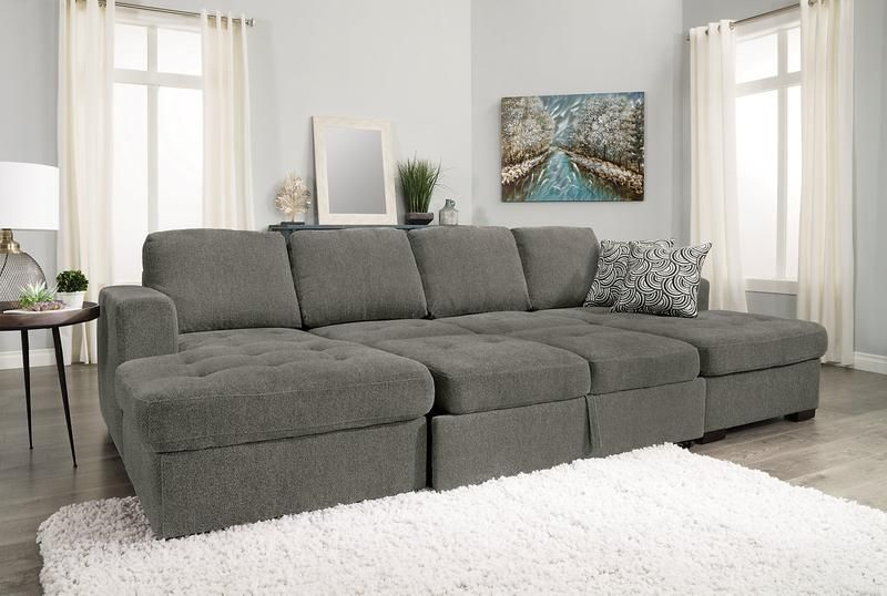 Izzy 3 Piece Chenille Sleeper Sectional With 2 Chaises In Live It Cozy Sectional Sofa Beds With Storage (View 4 of 15)