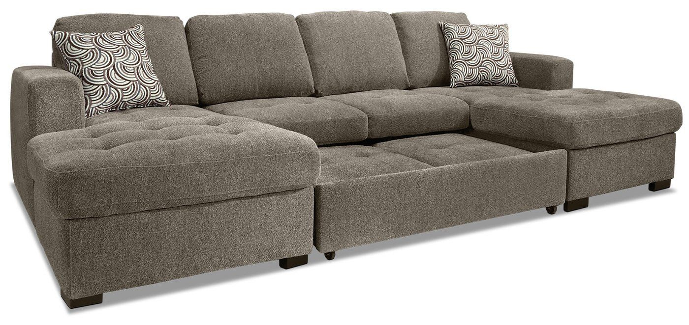 Izzy 3 Piece Chenille Sofa Bed Sectional With Two Chaises In Hugo Chenille Upholstered Storage Sectional Futon Sofas (View 15 of 15)