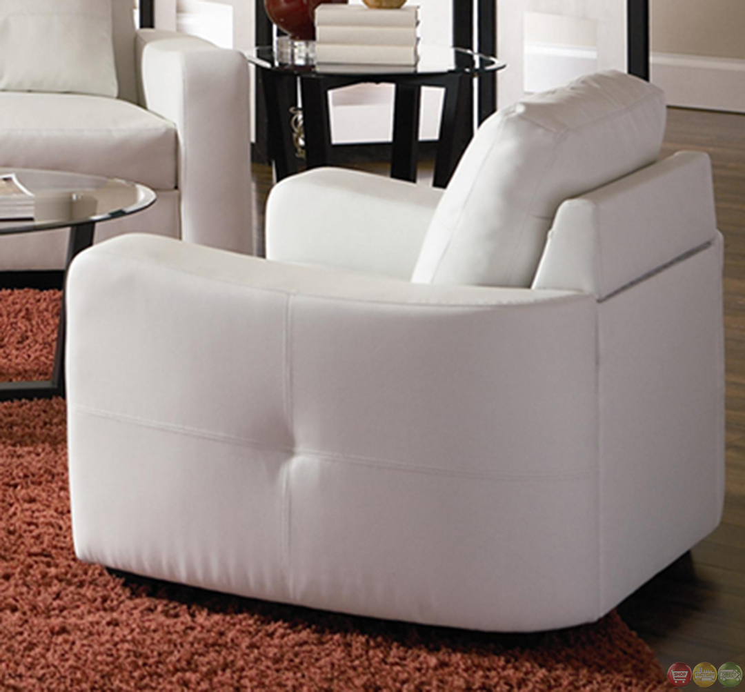 Jasmine Contemporary White Bonded Leather Sofa And Intended For White Sofa Chairs (View 14 of 15)