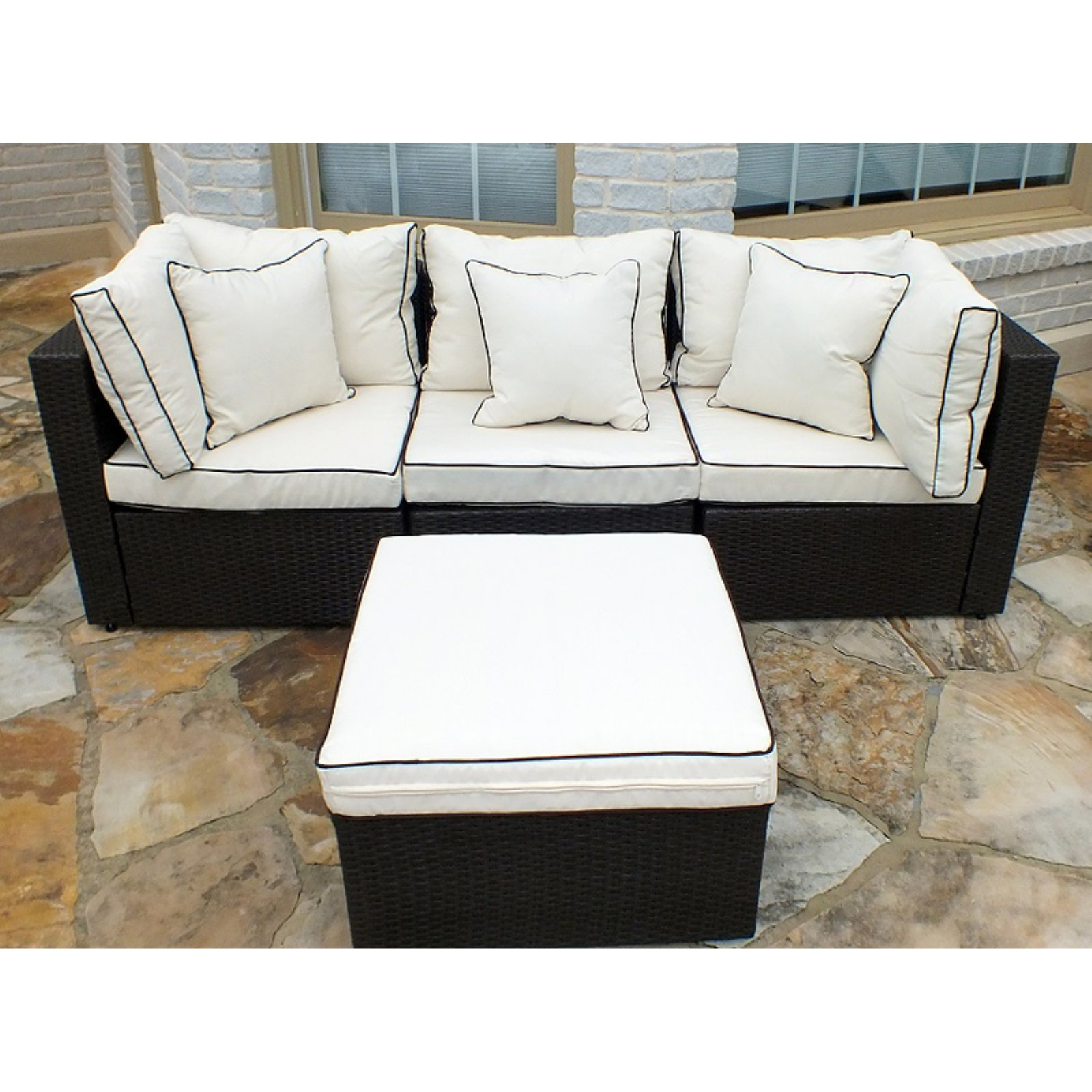 Jj International Hampton Wicker Patio Sofa With Ottoman Regarding Hamptons Sofas (View 8 of 15)