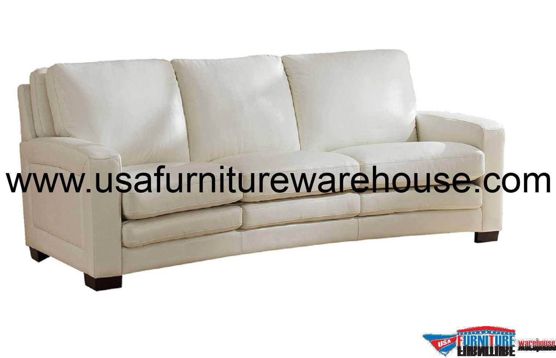 Joanna Full Top Grain Ivory White Leather Sofa – Usa Pertaining To White Sofa Chairs (View 2 of 15)