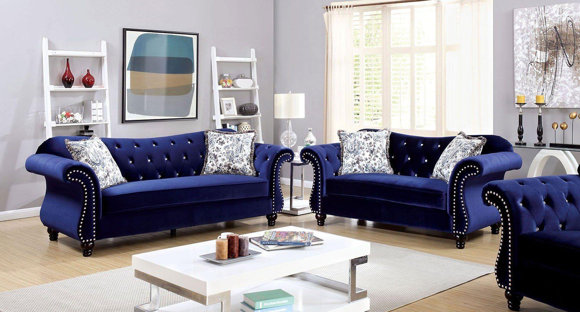 Jolanda Living Room Set (Blue) | Blue Living Room Decor Throughout Blue Sofa Chairs (View 8 of 15)