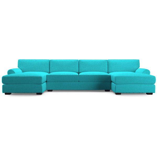 Joybird Leo Mid Century Modern Blue U Chaise Sectional In Dulce Mid Century Chaise Sofas Dark Blue (View 4 of 15)