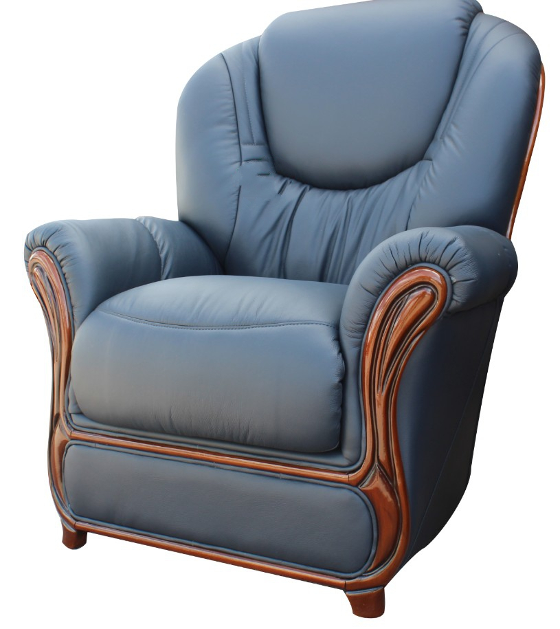 Juliet Genuine Italian Sofa Armchair Blue Leather, Leather Inside Blue Sofa Chairs (View 12 of 15)
