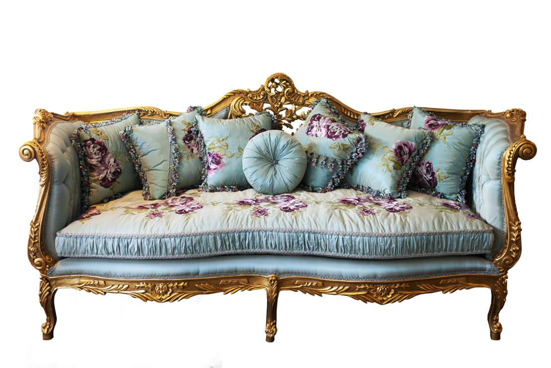 Juliette Louis Xv French Country Silk Tiffany Blue Floral With Regard To Floral Sofas And Chairs (View 10 of 15)