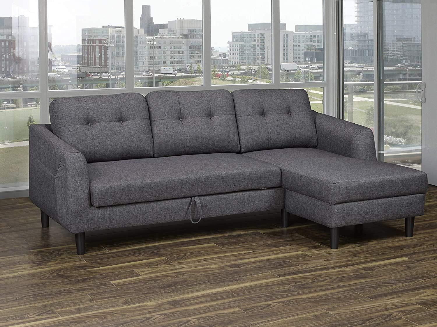 K Living Katie Linen Fabric Sofa Bed Sectional In Dark With Regard To Polyfiber Linen Fabric Sectional Sofas Dark Gray (View 3 of 15)
