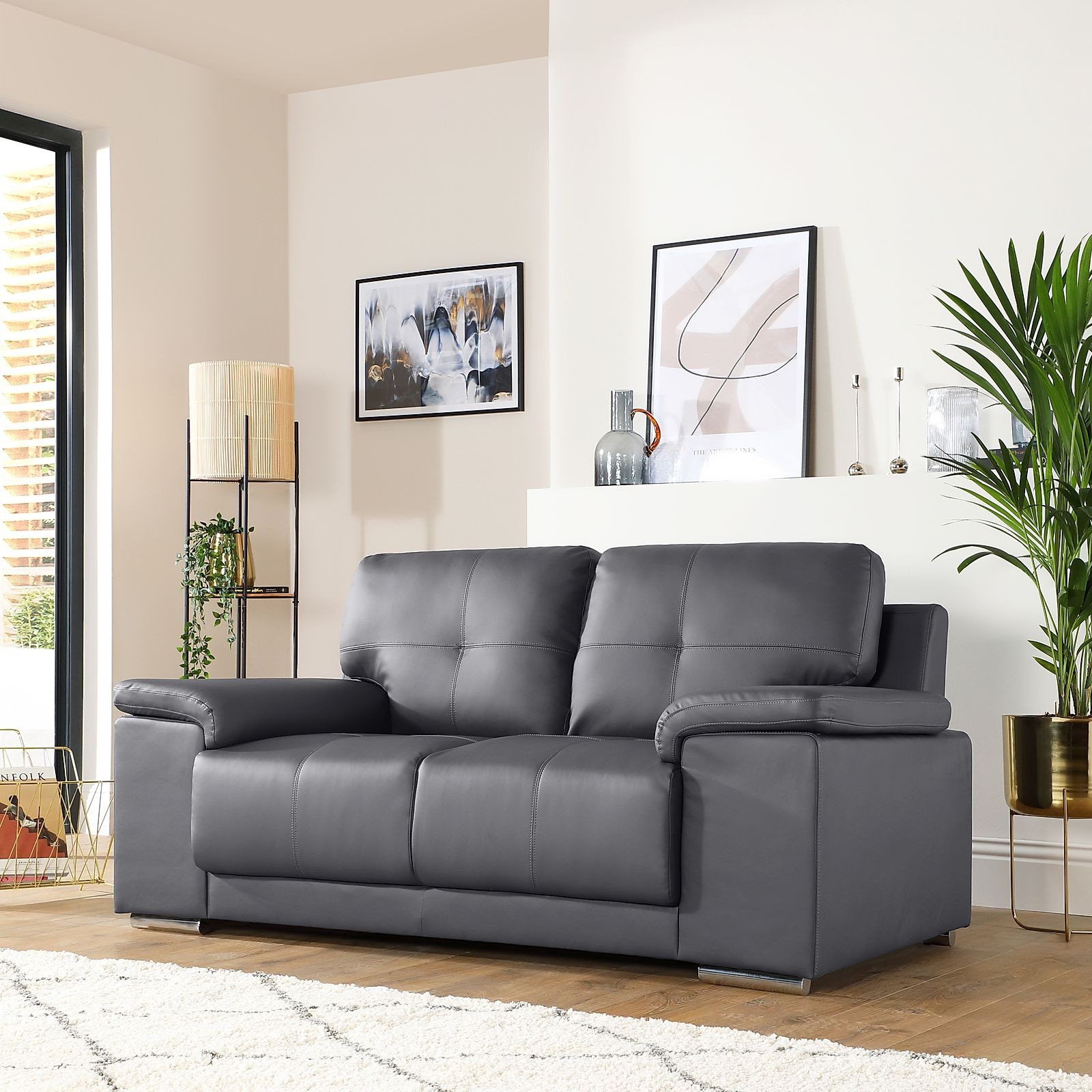 Kansas Grey Leather 2 Seater Sofa | Furniture Choice In Two Seater Sofas (View 1 of 15)