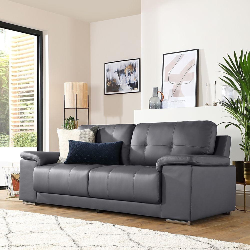 Kansas Grey Leather 3 Seater Sofa | Furniture And Choice Regarding Grey Sofa Chairs (View 1 of 15)
