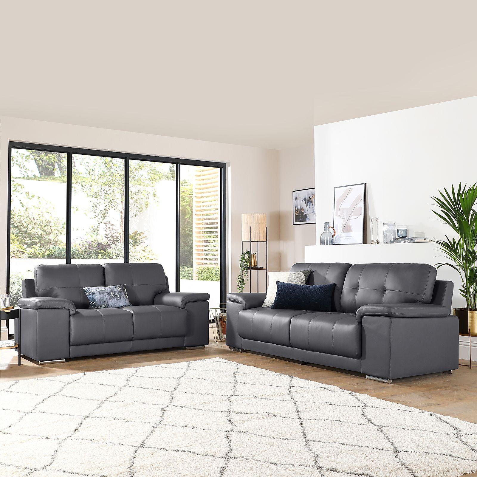 Kansas Grey Leather 3+2 Seater Sofa Set | Furniture Choice Pertaining To Grey Sofa Chairs (View 6 of 15)