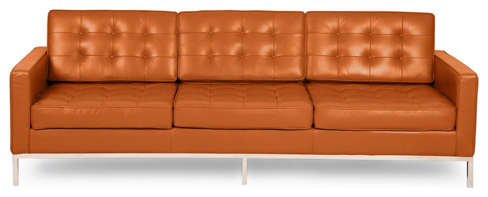 Kardiel Florence Knoll Style Sofa 3 Seat, Caramel Aniline For Florence Knoll Style Sofas (View 9 of 15)