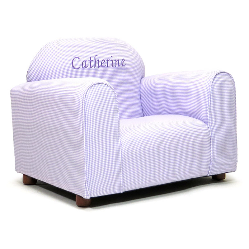 Keet Personalized Kids Mini Chair Lavender Gingham – Kids In Personalized Kids Chairs And Sofas (View 14 of 15)