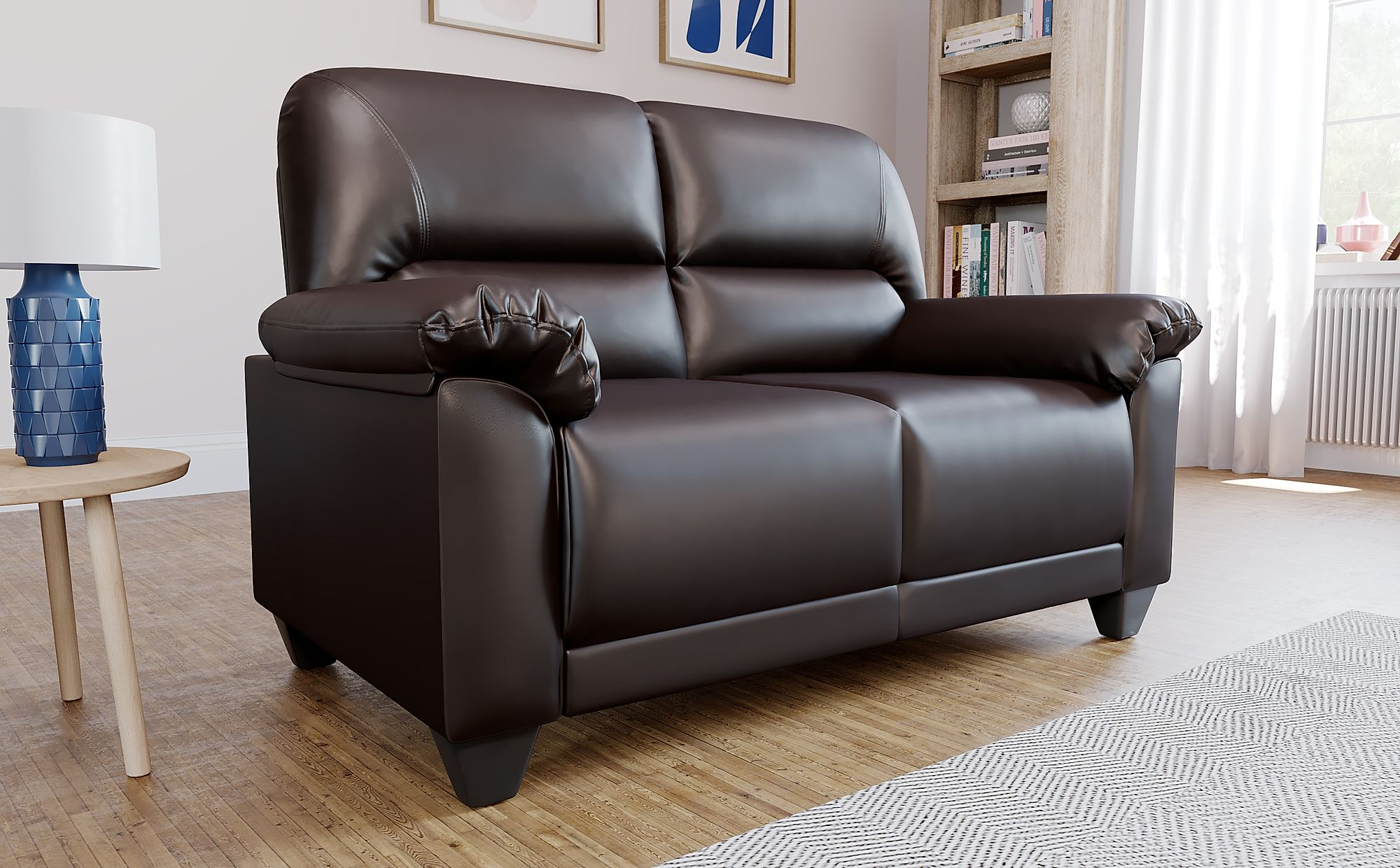 Kenton Small Brown Leather 2 Seater Sofa   Furniture Choice Within Brown Sofa Chairs (View 10 of 15)