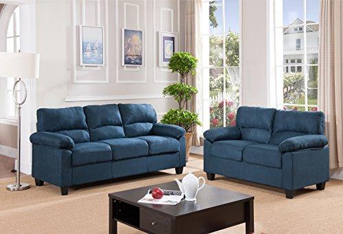 Kings Brand Furniture Blue Microfiber Living Room Set For Artisan Blue Sofas (View 9 of 15)