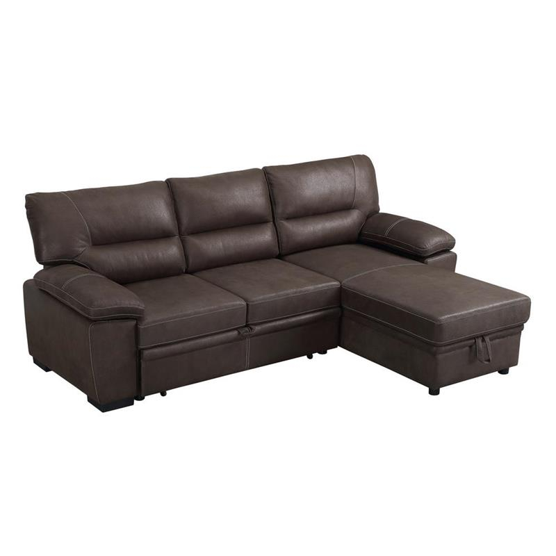 Kipling Brown Microfiber Reversible Sleeper Sectional Sofa With Palisades Reversible Small Space Sectional Sofas With Storage (View 10 of 15)