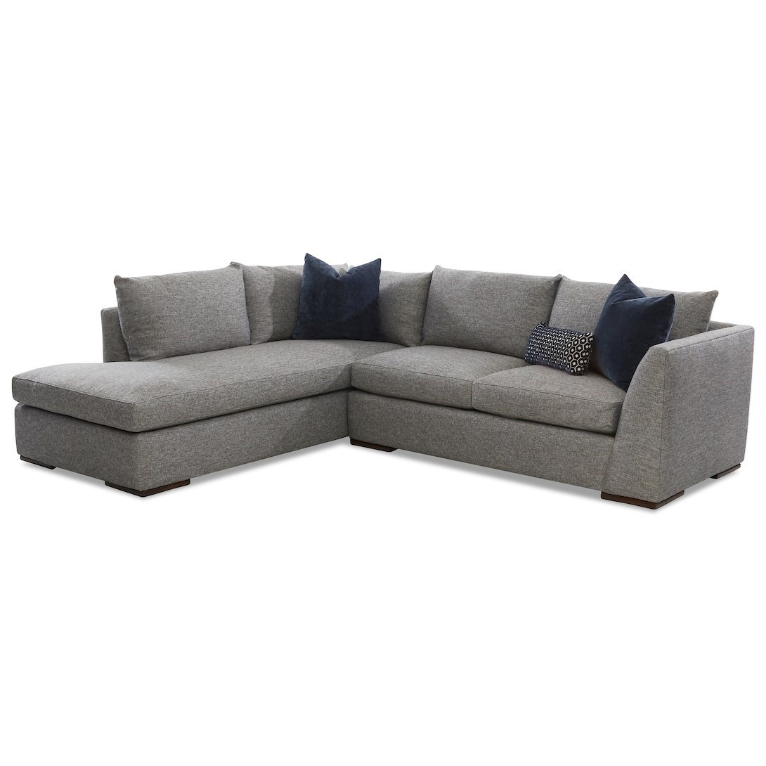 Klaussner Flagler Contemporary 2 Piece Chaise Sofa With Inside 2Pc Burland Contemporary Chaise Sectional Sofas (View 6 of 15)