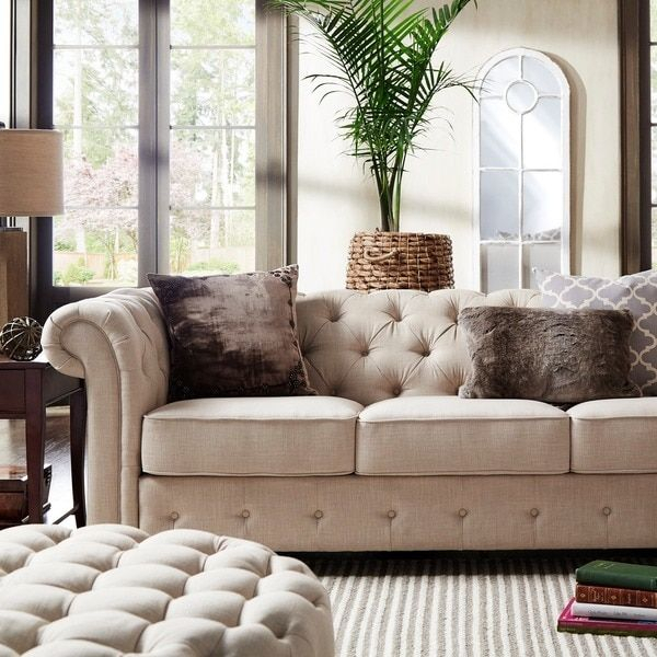 Knightsbridge Beige Fabric Button Tufted Chesterfield Sofa For Artisan Beige Sofas (View 14 of 15)