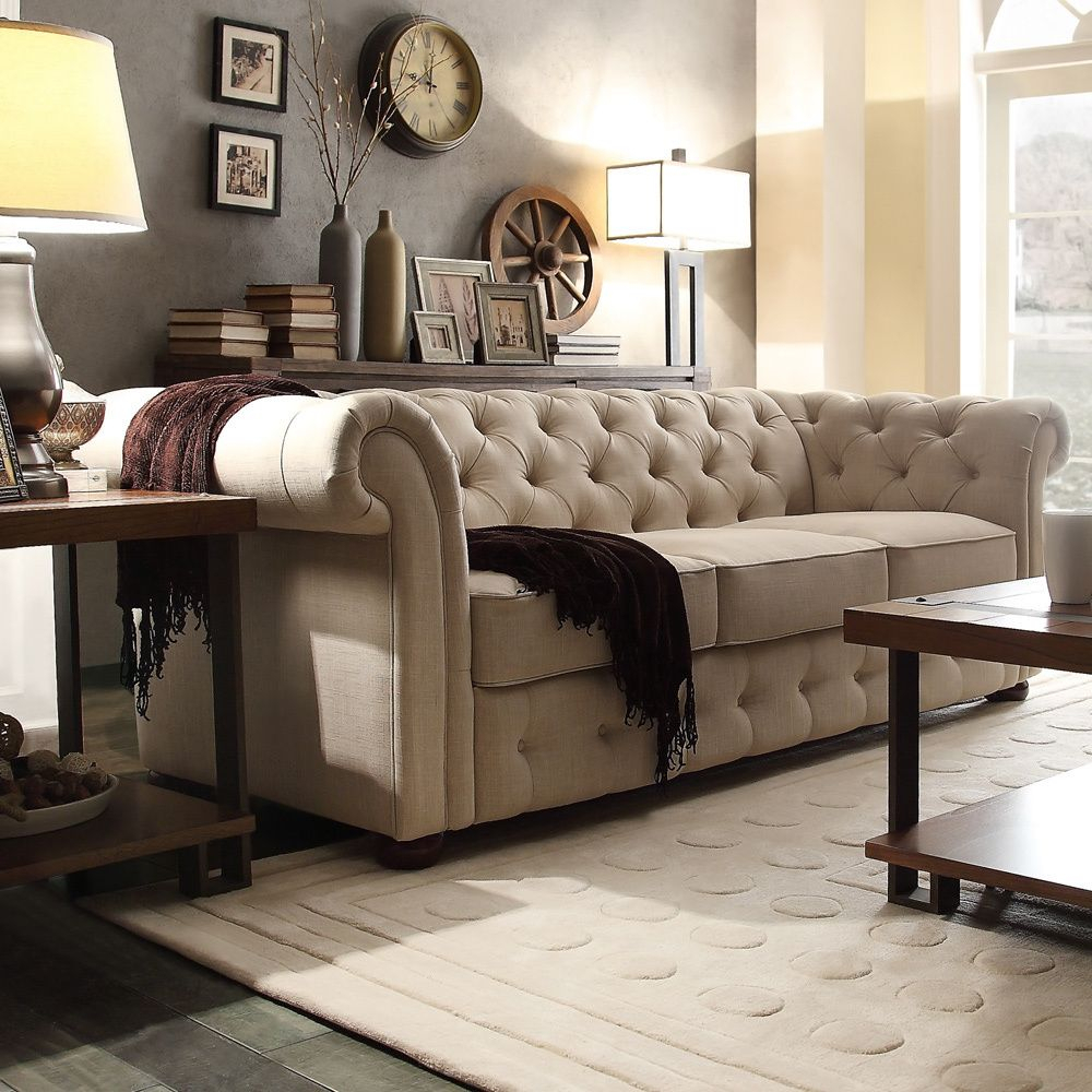 Knightsbridge Beige Fabric Button Tufted Chesterfield Sofa Intended For Artisan Beige Sofas (View 10 of 15)